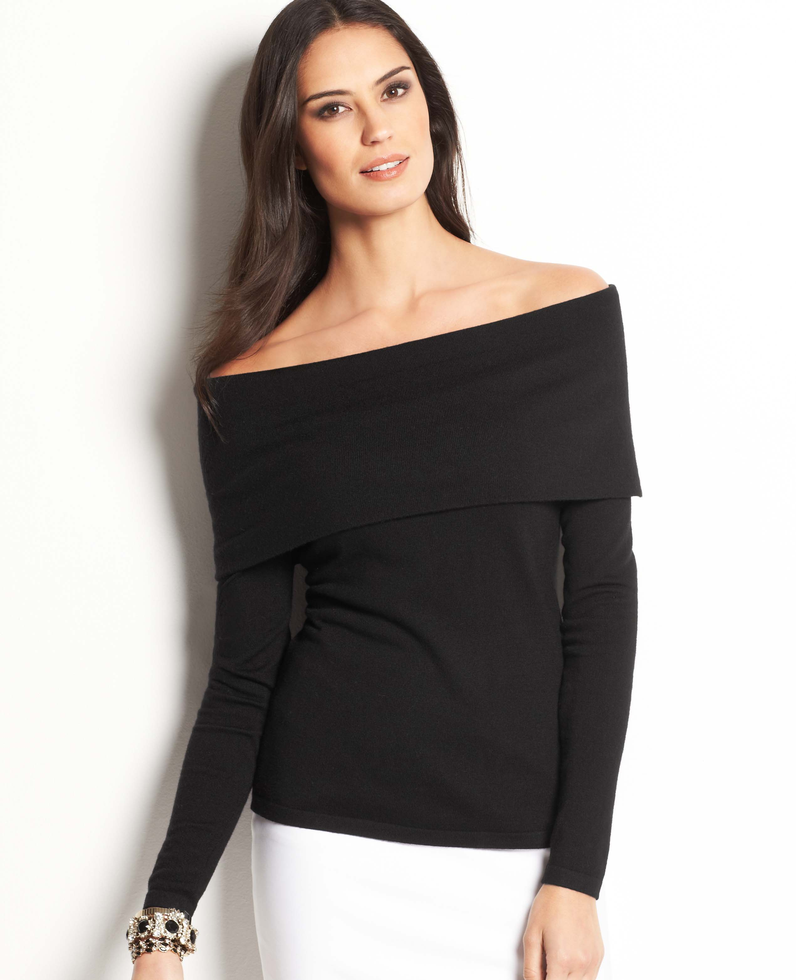 Ann Taylor Off The Shoulder Sweater in Black | Lyst
