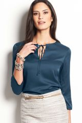 Ann Taylor Tie Neck Three Quarter Sleeve Top - Lyst