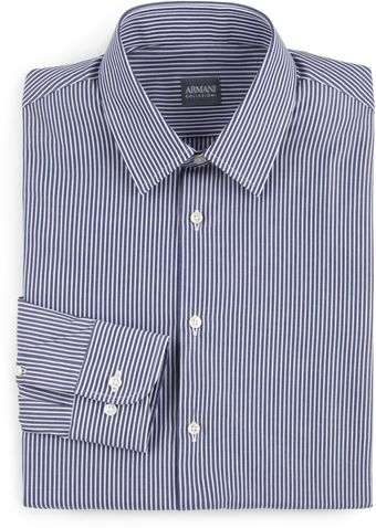 Armani Striped Cotton Button Front Shirt - Lyst