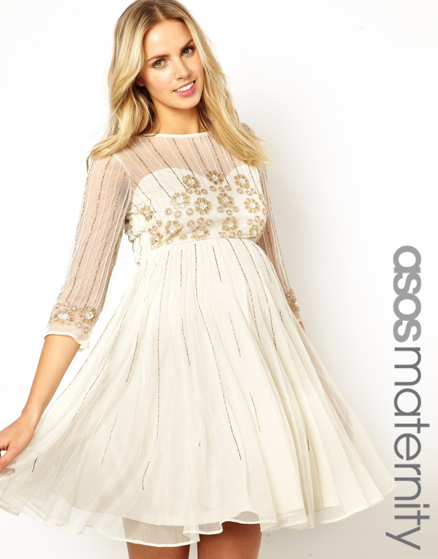 Asos skater dress with daisy embellishment in natural lyst gallery womens skater dresses ombrellifo Choice Image