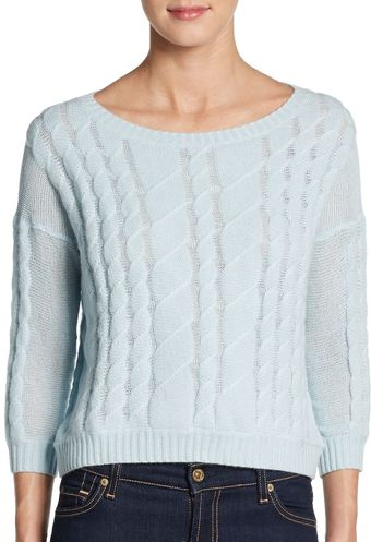 Autumn Cashmere Sheer Cable Pullover Sweater - Lyst