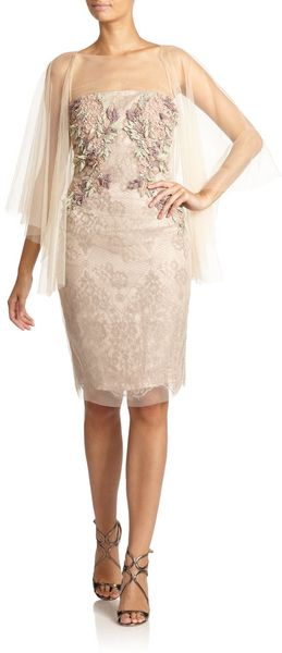 Badgley Mischka Draped Silk Floral Appliques Lace Cocktail Dress - Lyst