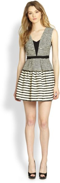 BCBGMAXAZRIA Piper Striped Peplum Dress - Lyst