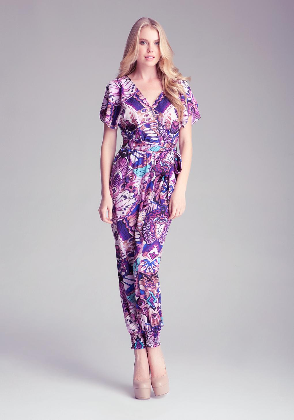 Lyst Bebe Floral Tie Jumpsuit In Purple