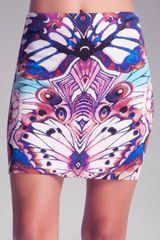 Bebe Printed Mini Scuba Skirt - Lyst