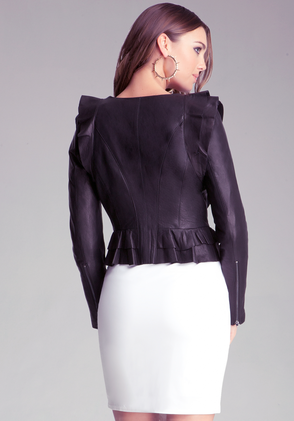 Bebe Ruffle Leather Jacket In Black Lyst