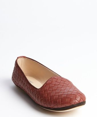 Bottega Veneta Rose Intrecciato Leather Slip On Flats - Lyst