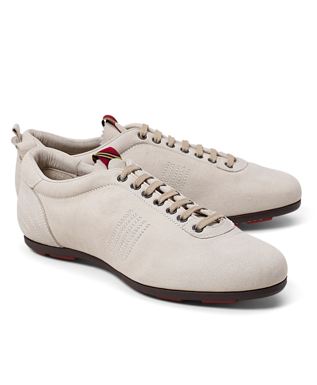 Brooks Brothers Pantofola Doro Suede Sneakers In Natural