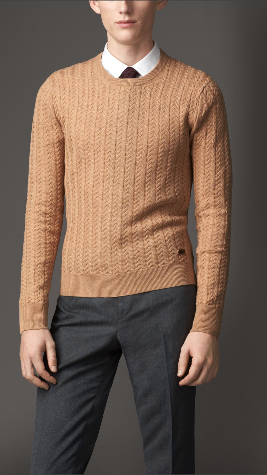 Burberry Cashmere Wool Aran Knit Sweater in Natural for Men | Lyst