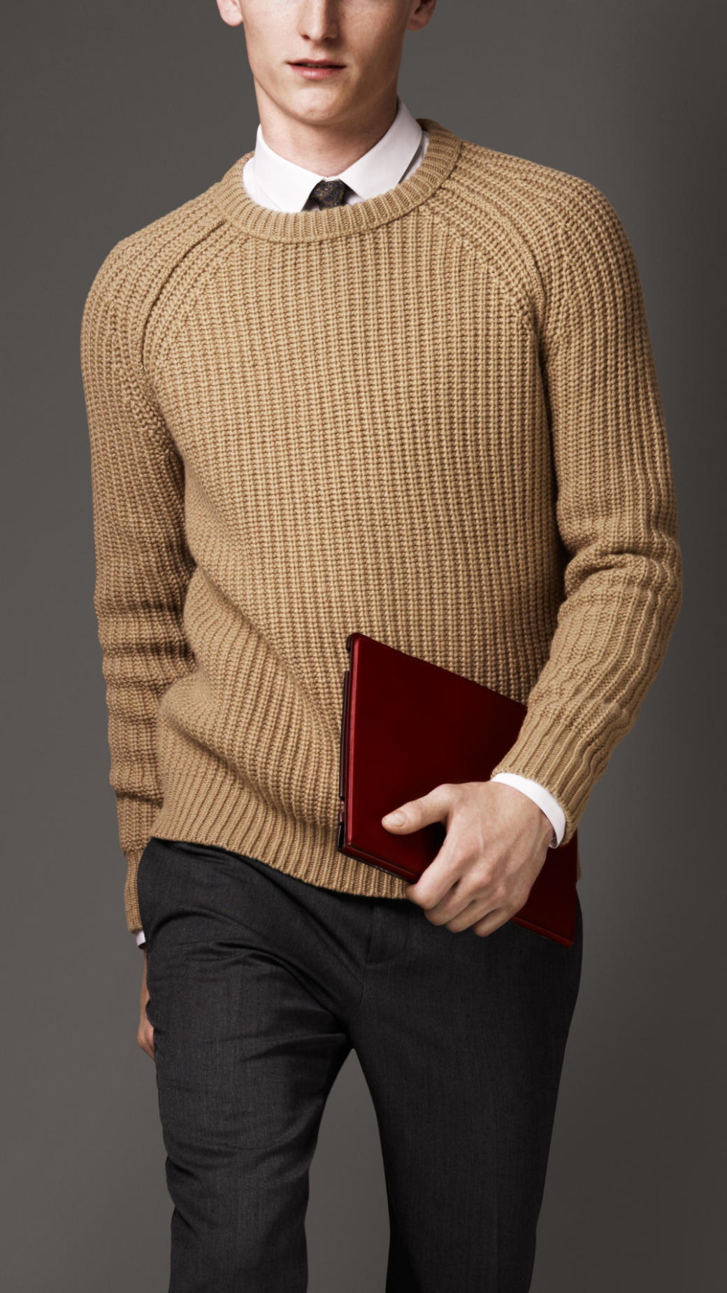 Burberry Ribbed Wool Cashmere Sweater in Natural for Men | Lyst