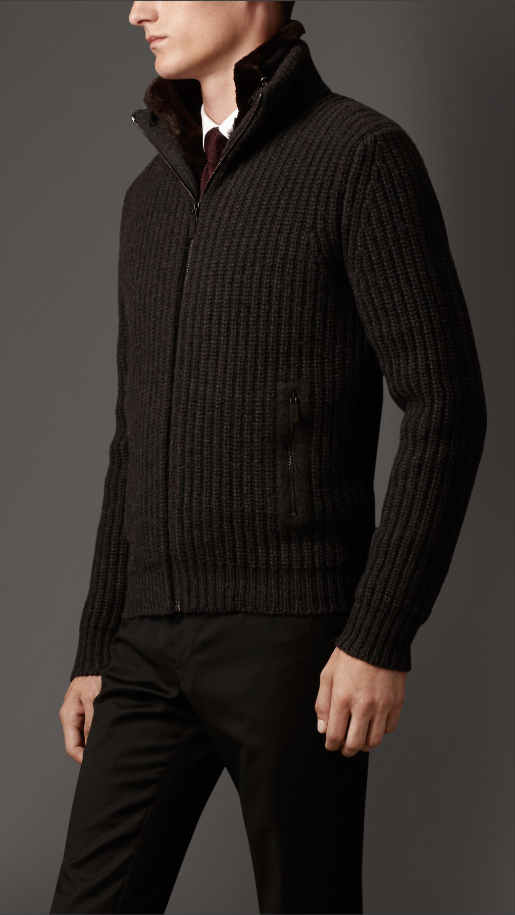 Burberry Ribbed Cashmere Cardigan Jacket with Rabbit Fur Warmer in ...