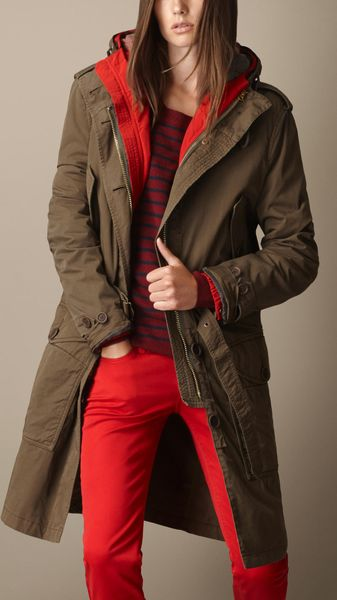 Burberry Cotton Twill Parka with Removable Jacket - Lyst