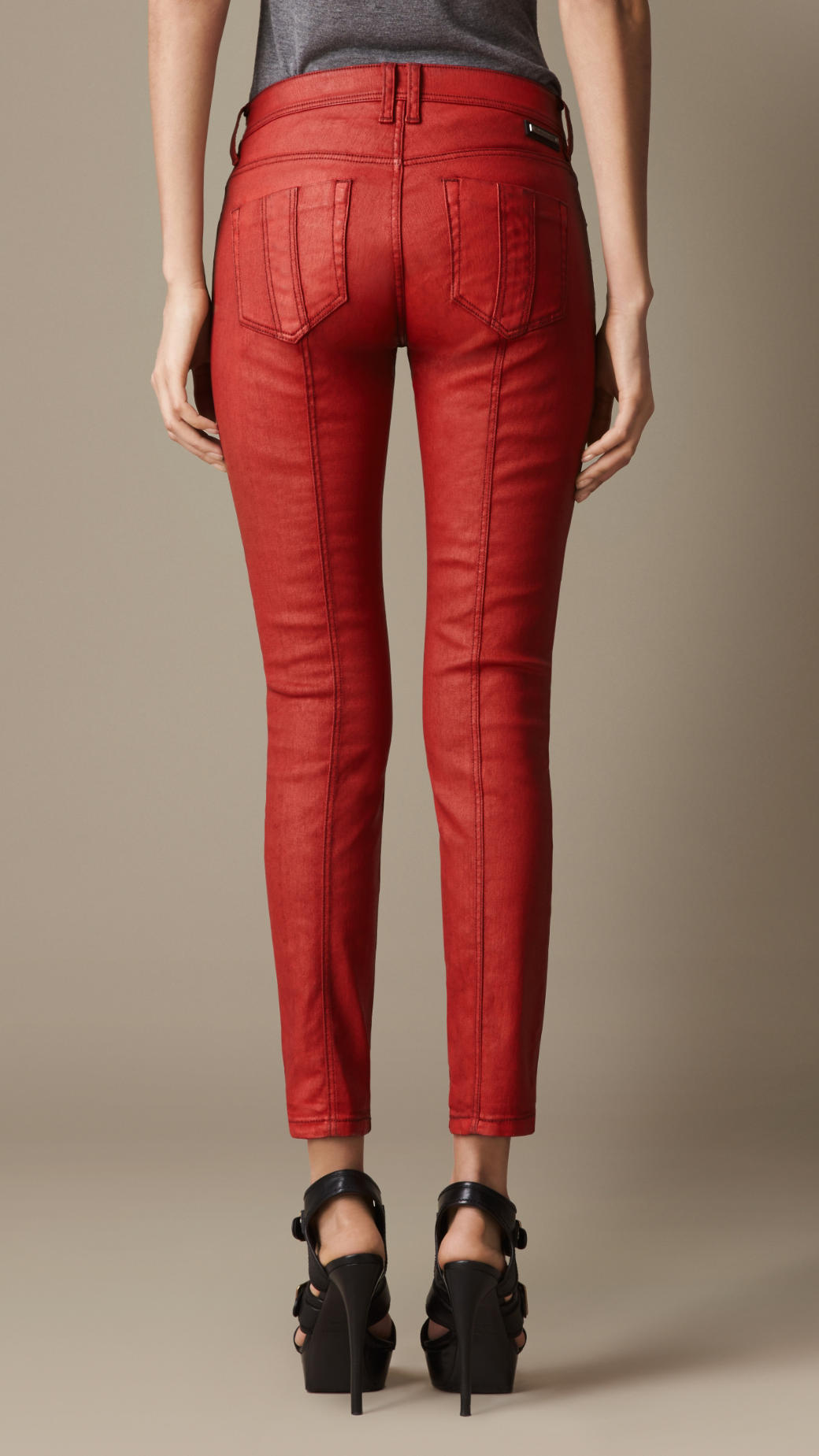 Burberry Westbourne Coated Skinny Fit Jeans in Red | Lyst