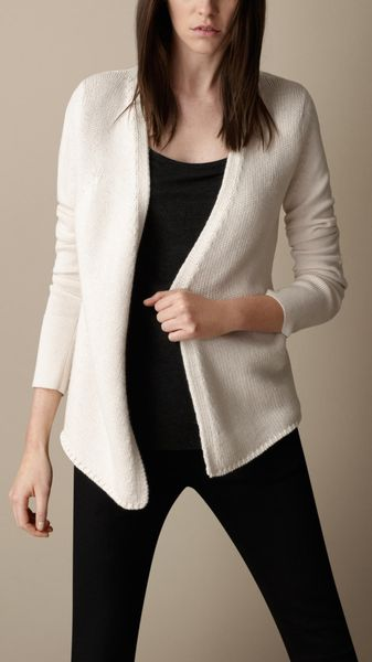 Burberry Cotton Cashmere Elbow Patch Cardigan - Lyst