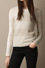 Burberry Lurex Stitch Striped Cashmere Sweater - Lyst