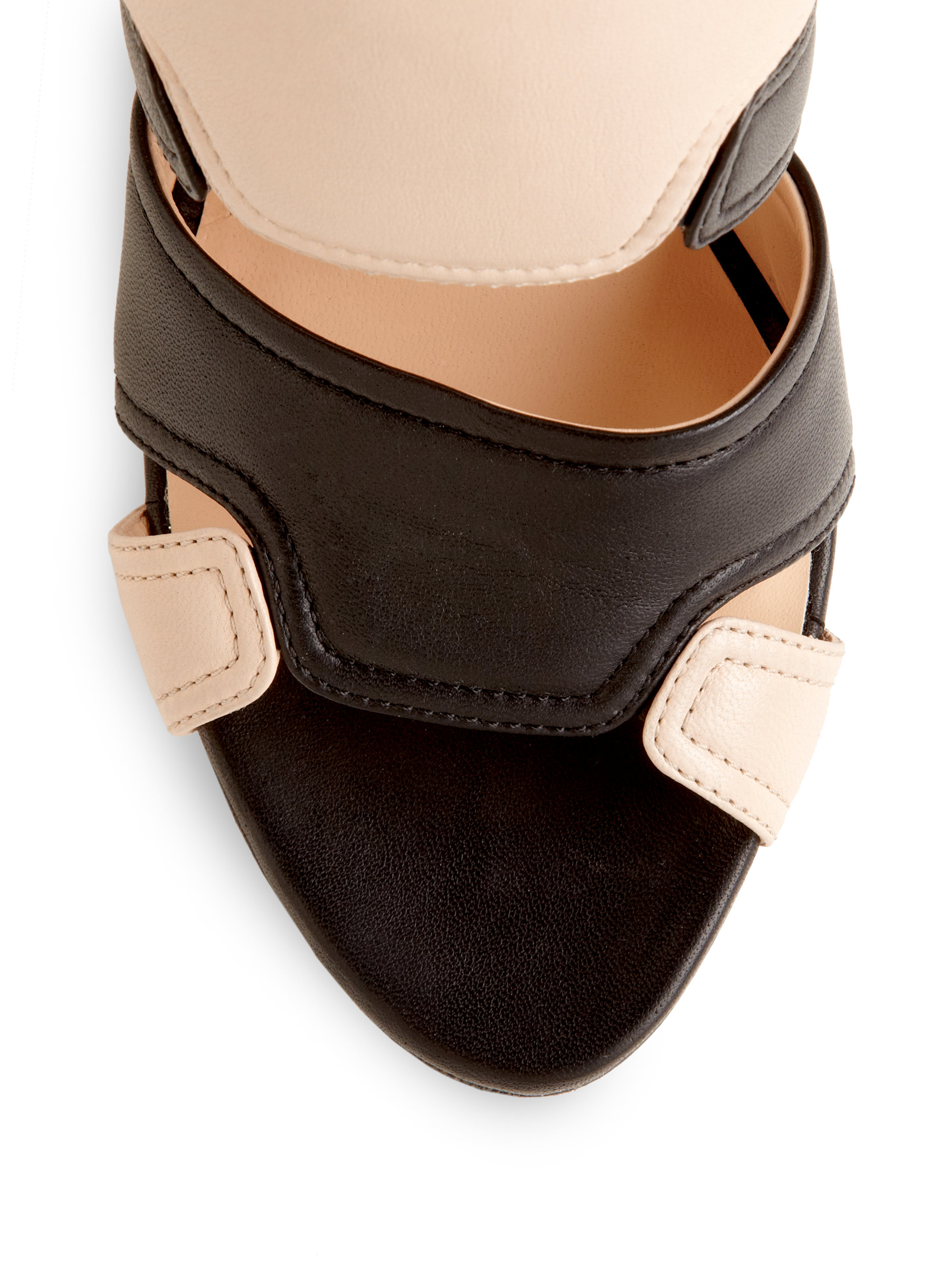 Lyst Calvin Klein Verushka Color Block Leather Sandals