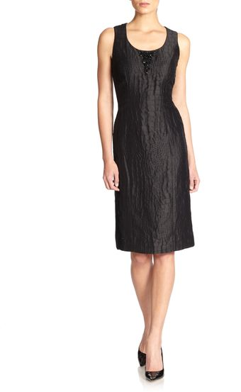Carolina Herrera Embellished Crocodil Eembossed Sheath Dress - Lyst