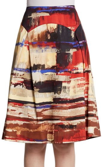 Carolina Herrera Brush-stroke Paneled Skirt - Lyst