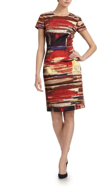 Carolina Herrera Cotton Paintbrush Dress - Lyst