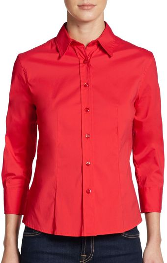 Carolina Herrera Classic Three quarter Sleeve Blouse - Lyst