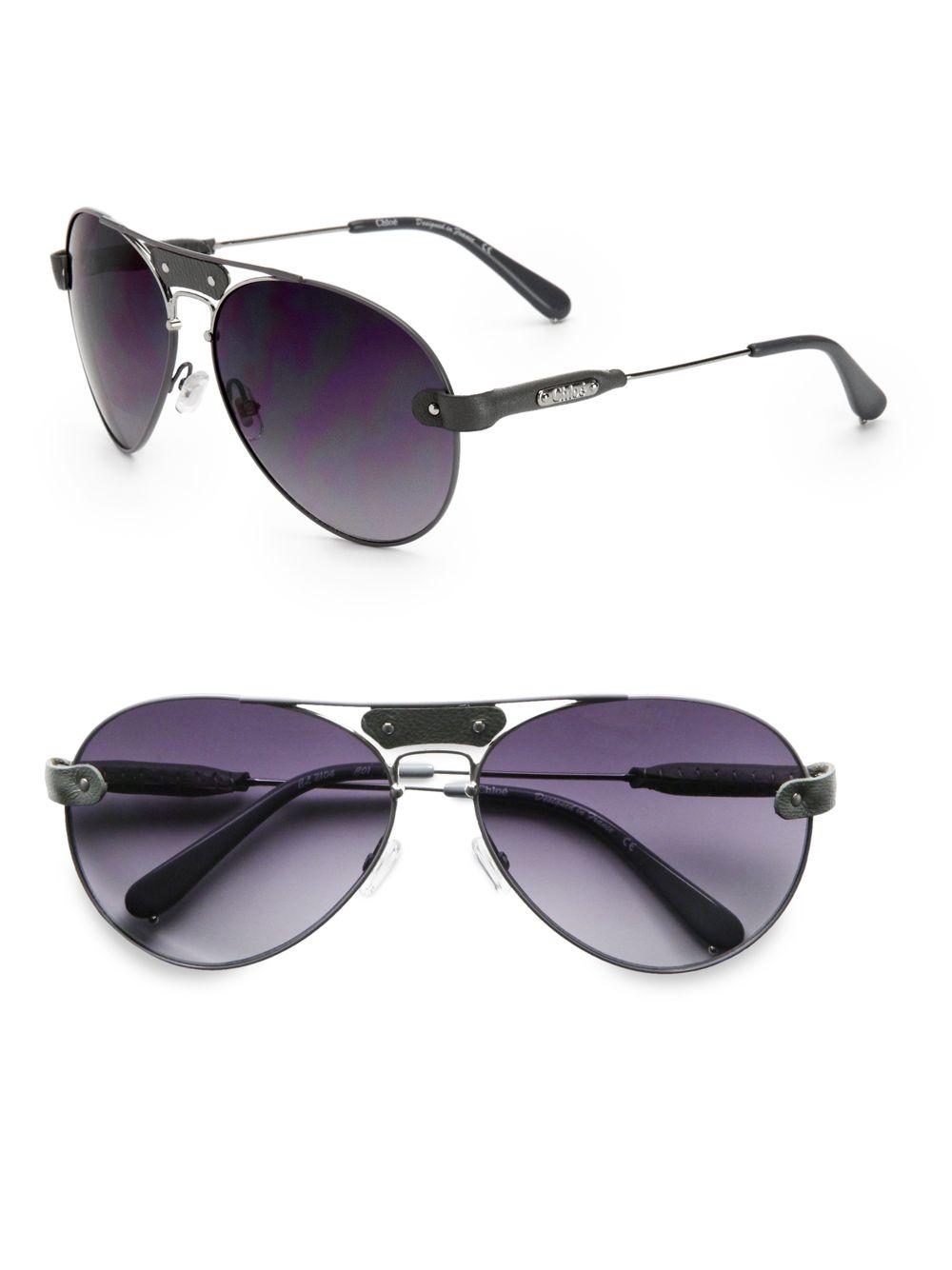 ef93103040f Lyst - Chloé Leather Metal Aviator Sunglasses in Gray