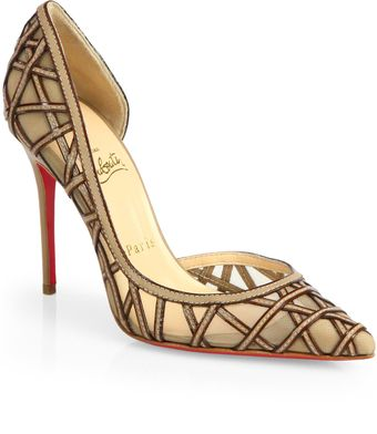 Christian Louboutin St Honore Leather Mesh Pumps - Lyst