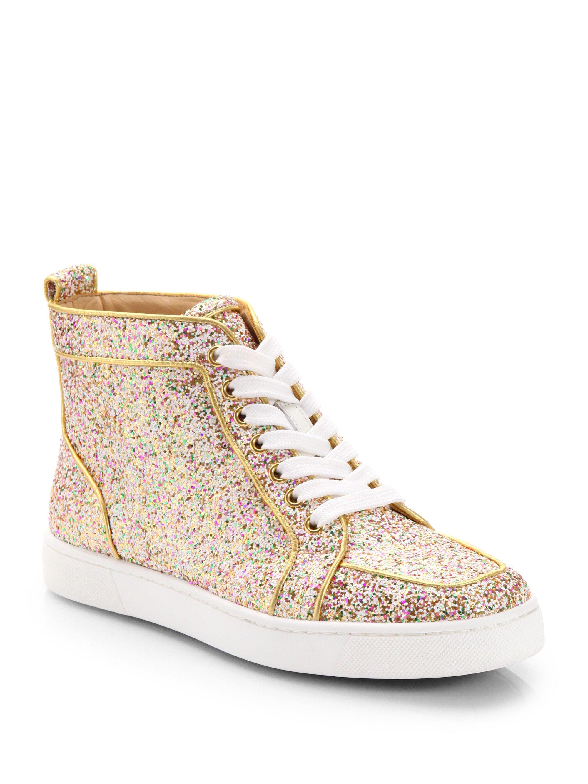 8244a3880e2 ... wholesale christian louboutin glitter hightop sneakers in metallic lyst  c3930 834ee