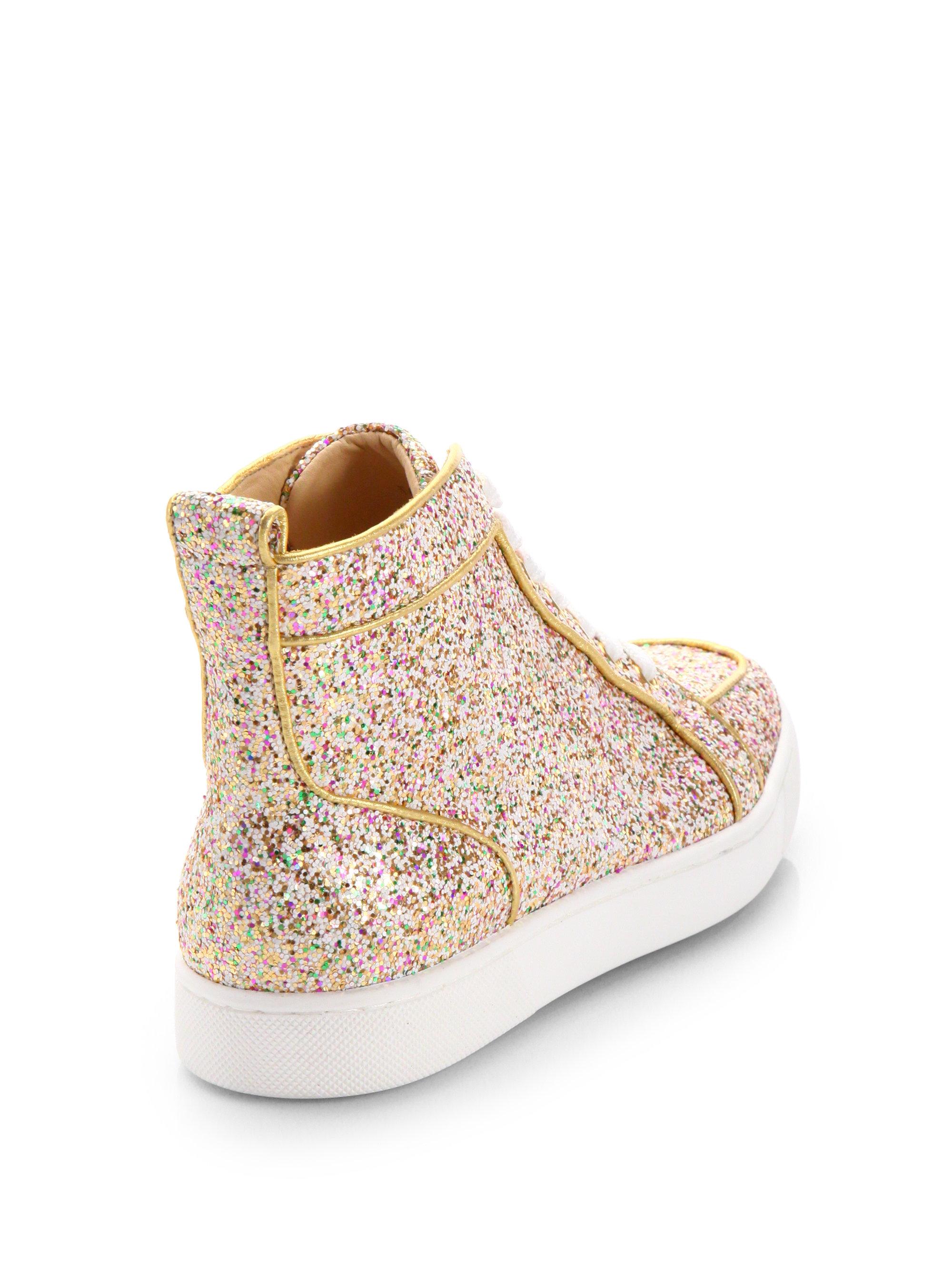b9cf6127c96 ... amazon lyst christian louboutin glitter hightop sneakers in metallic  ea055 453e3