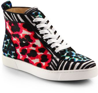 Christian Louboutin Animalprint Pony Hair Hightop Sneakers - Lyst