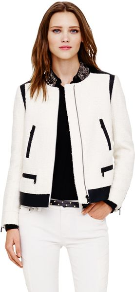 Club Monaco Reid Boucle and Leather Jacket - Lyst