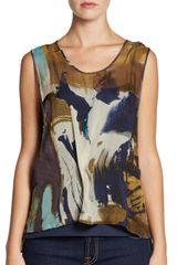 Cut25 By Yigal Azrouël Printed Silk Chiffon Top - Lyst