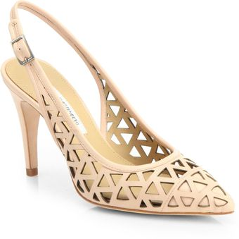 Diane Von Furstenberg Addison Cut-Out Leather Slingback Pumps - Lyst