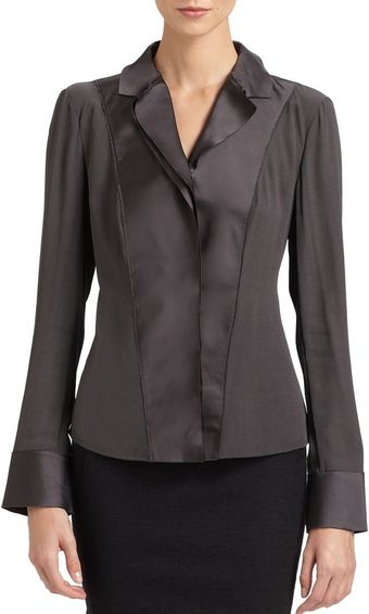 Donna Karan New York Satin Bib Blouse - Lyst