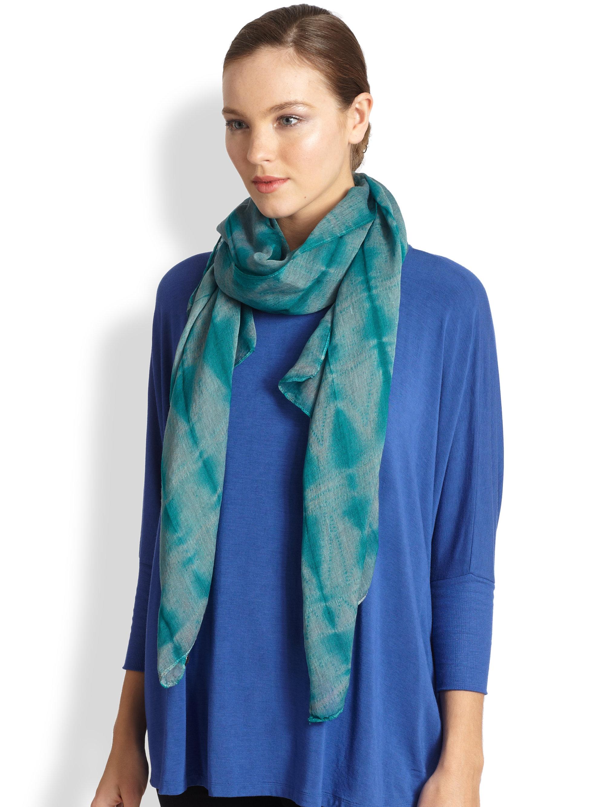 Lyst Eileen Fisher Shibori Silk Wool Scarf In Green