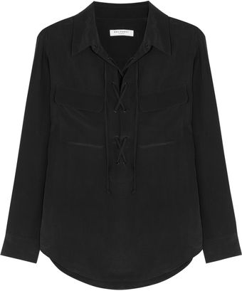 Equipment Knox Laceup Washed-silk Shirt - Lyst