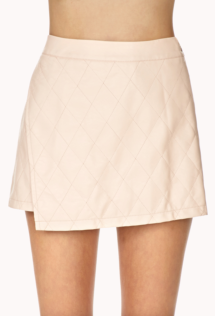forever 21 iconic faux leather mini skirt in pink