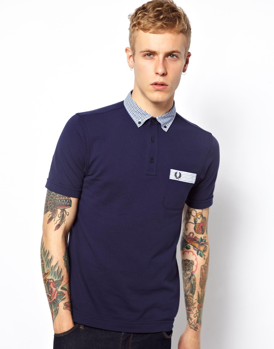 fred perry polo with gingham trim in blue for men lyst. Black Bedroom Furniture Sets. Home Design Ideas