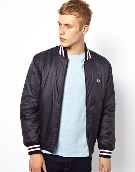 fred perry bomber jacket with tipping in blue for men navy lyst. Black Bedroom Furniture Sets. Home Design Ideas