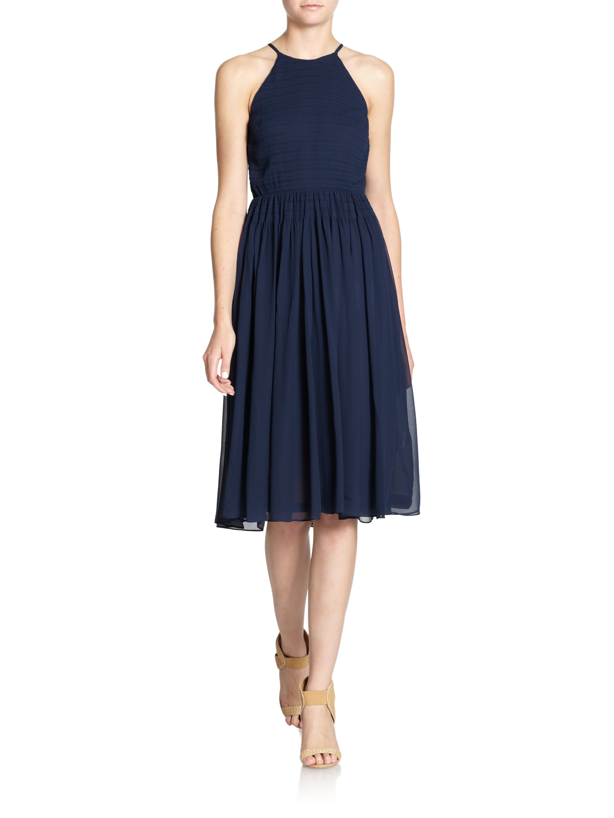 French Connection Spell On You Chiffon Dress In Blue Navy