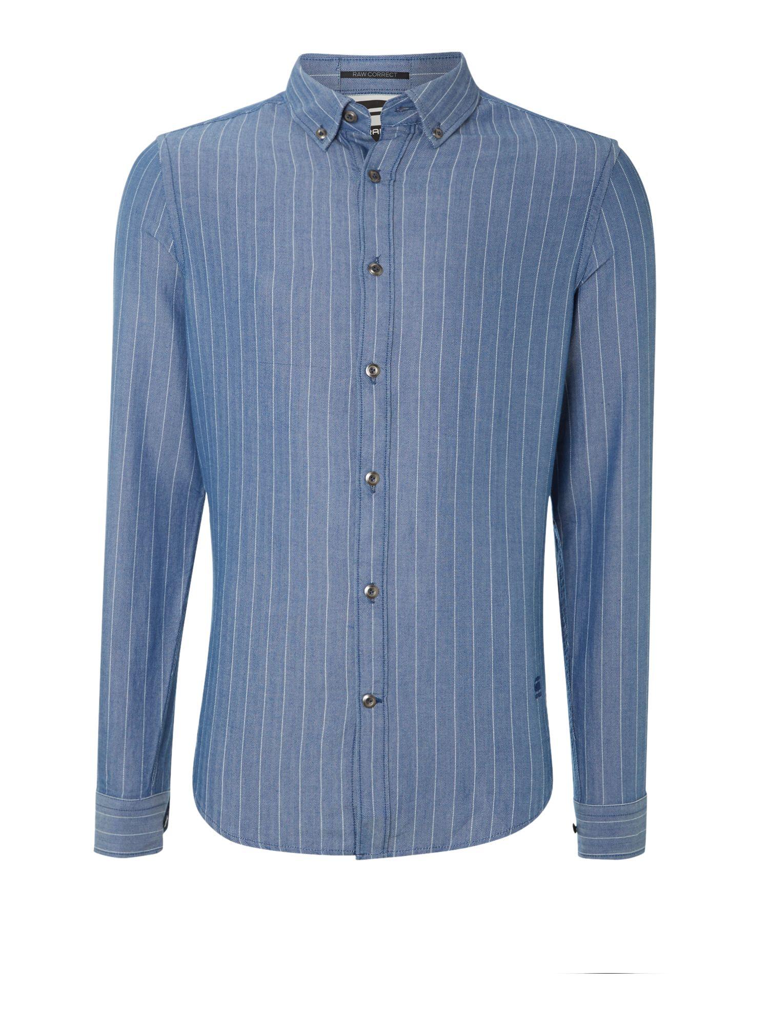 g star raw vertical line textured shirt in blue for men lyst. Black Bedroom Furniture Sets. Home Design Ideas