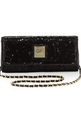 Gianfranco Ferré Sequined Eastwest Flap Clutch Black - Lyst