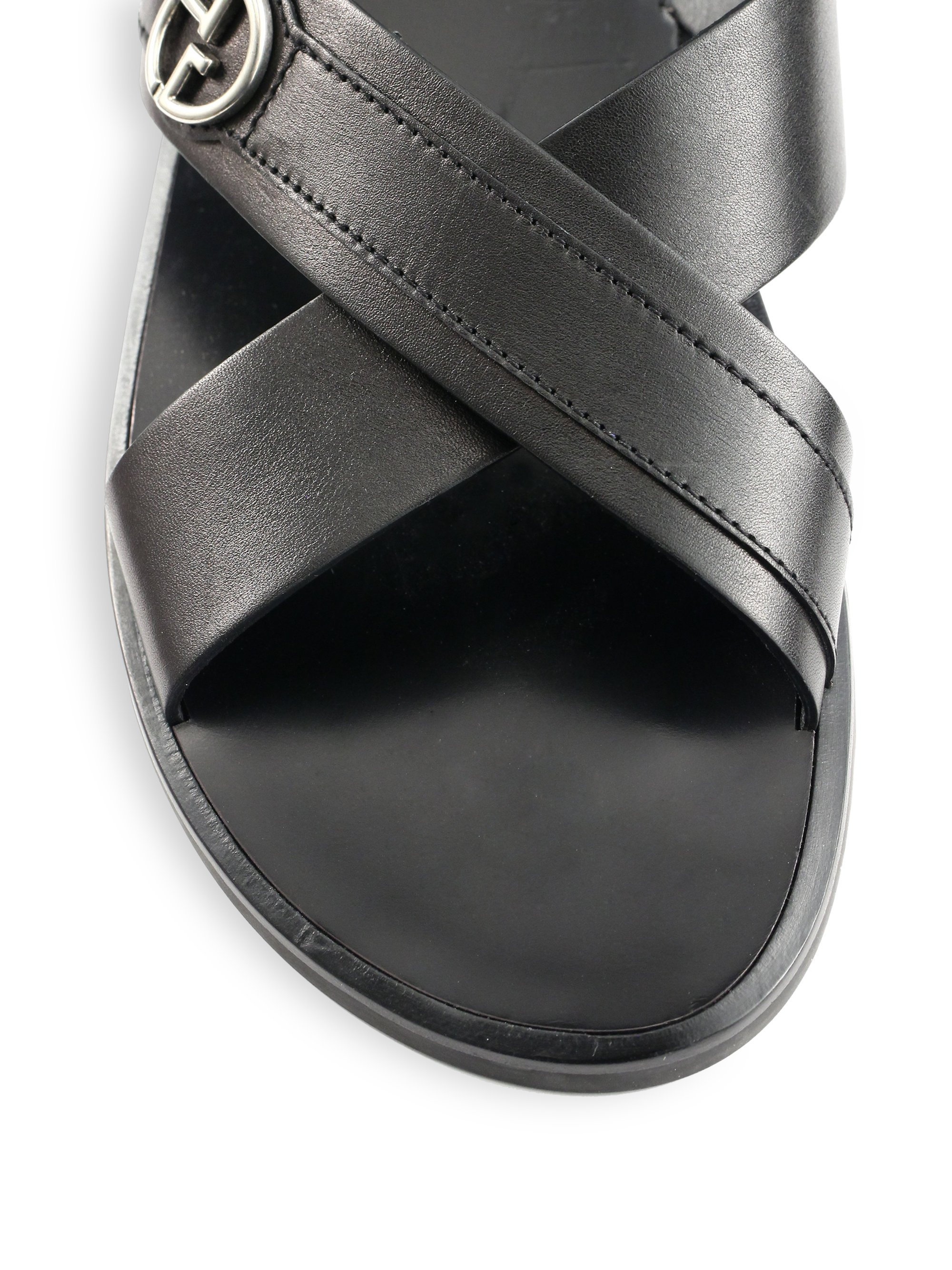 4ab75c450 Lyst - Giorgio Armani Leather Logo Sandals in Black for Men