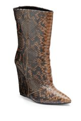 Giuseppe Zanotti Python-Embossed Leather Wedge Boots - Lyst