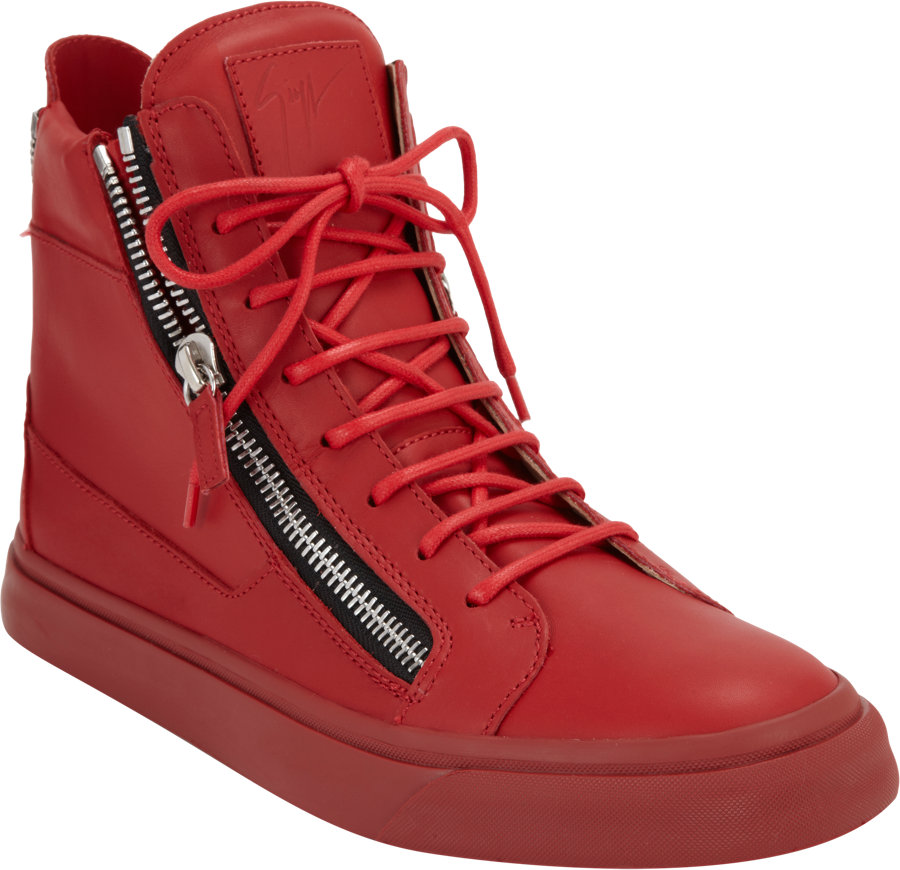 giuseppe zanotti double zip sneakers in red for men lyst. Black Bedroom Furniture Sets. Home Design Ideas