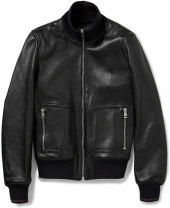 Gucci Nappa Leather and Web Trimmed Bomber Jacket - Lyst