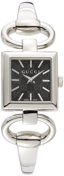 Gucci Stainless Steel Square Black Dial Watch - Lyst