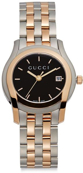 Gucci Twotone Stainless Steel Black Dial Watch - Lyst
