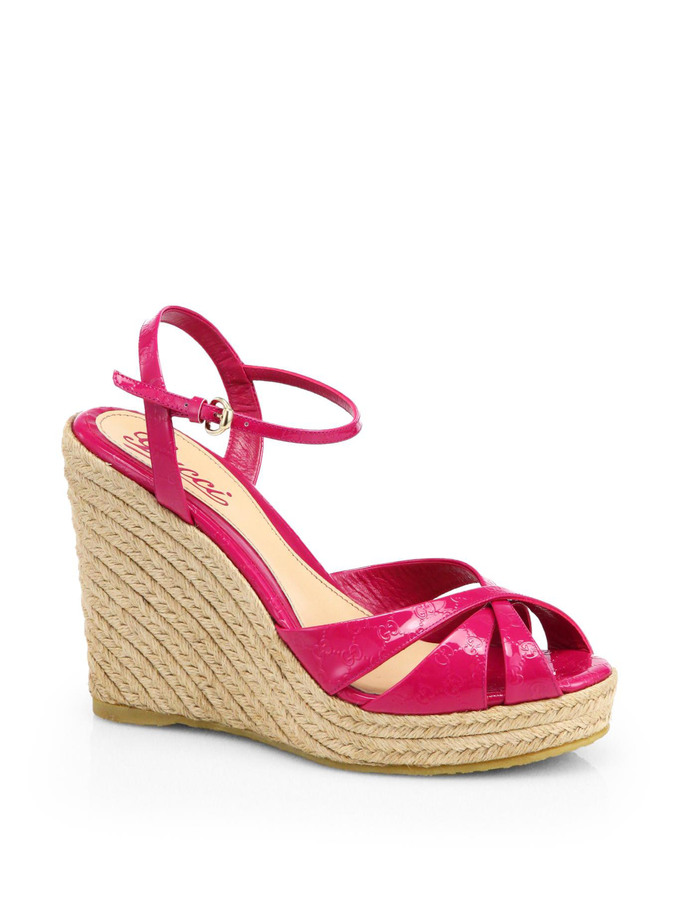 a61716d8bf2 Lyst - Gucci Penelope Logo Patent Leather Espadrille Wedge Sandals ...