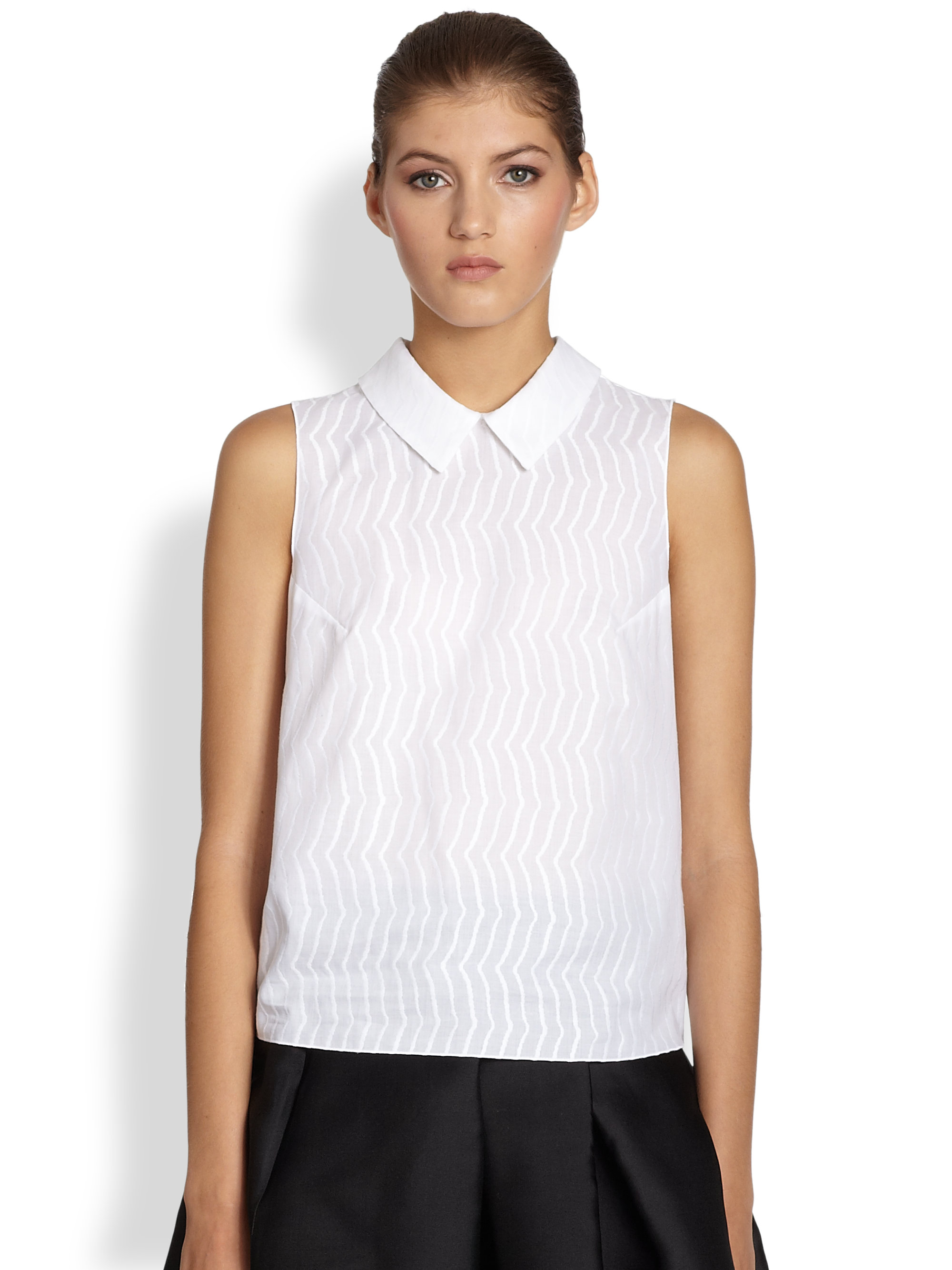Jil sander navy Sleeveless Collared Shirt in White | Lyst