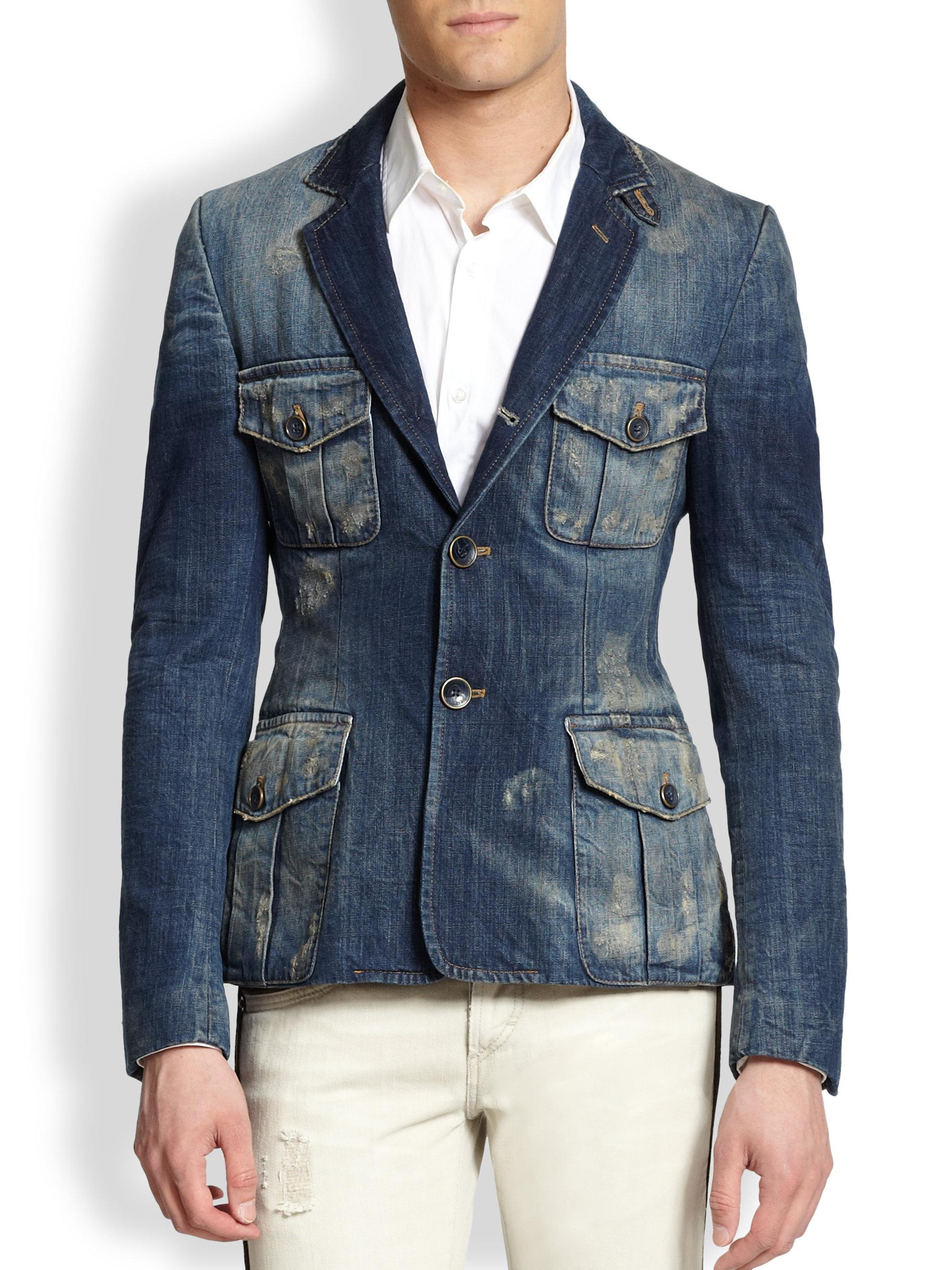 Just cavalli Giacche Distressed Denim Blazer in Blue for Men | Lyst